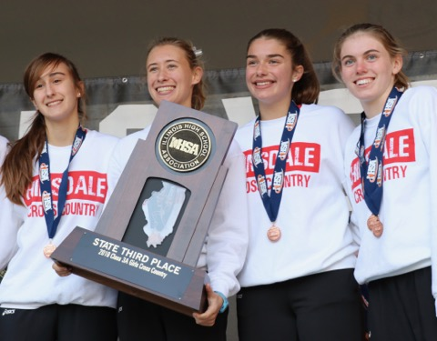 The girls cross country team won third place at the IHSA 3A state meet on Saturday Nov. 9 at Detweiller Park in Peoria, Ill.