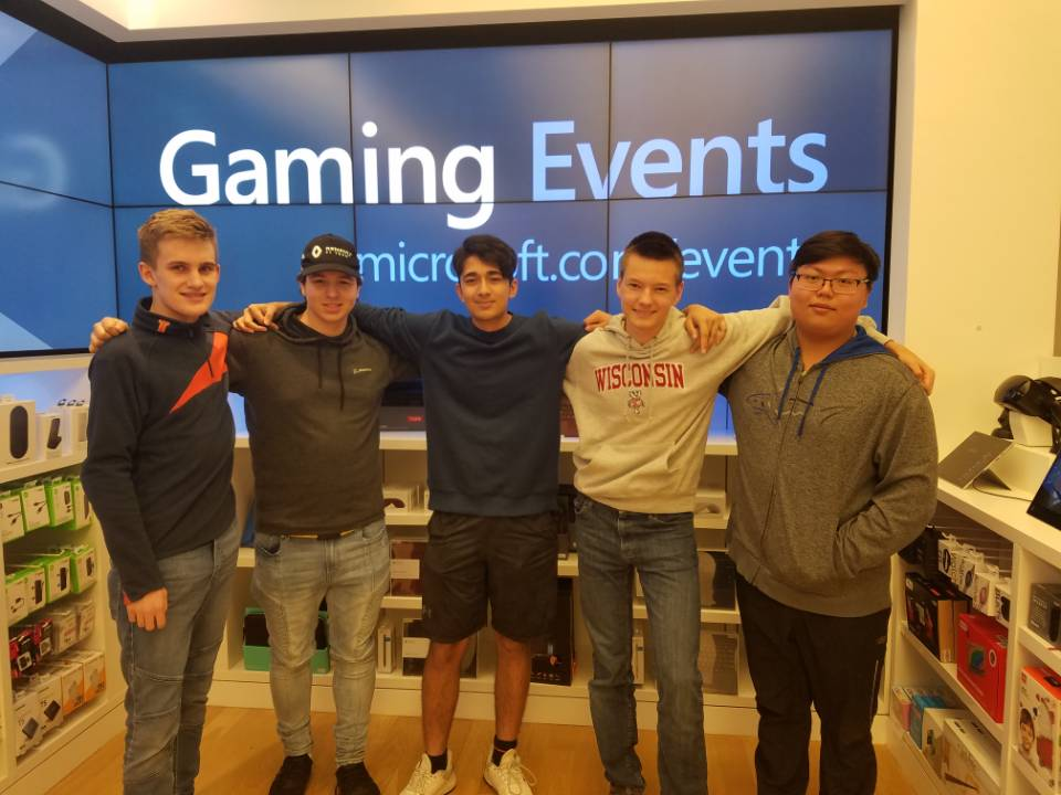 Some of the E-sports club members pose for a group picture at one of their gaming events.