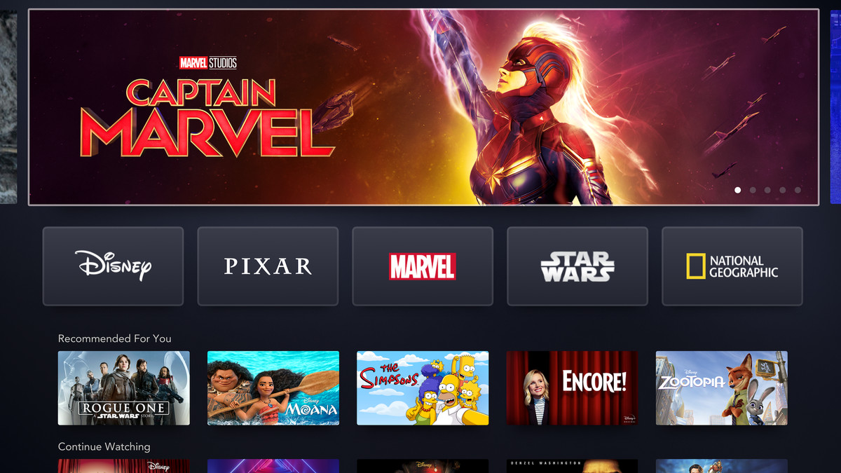 The Disney+ home page has rotating feature images of top movies and TV shows, and different links to their franchises: Disney, Pixar, Marvel, Star Wars, and National Geographic.