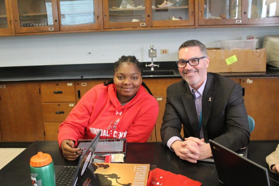Principal Walsh and senior Maiwen Amegadjie shadowed each other throughout the day on Monday, Jan. 27. Walsh got to engage with other students in Amegadjie's physics course.