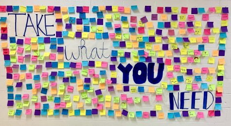 "BDTW Board placed two ""Take What You Need Walls"" around school as Tuesday"