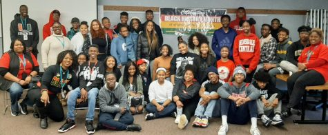 Students and staff gather for a Black Student Union meeting during Black History Month.