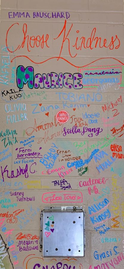 Throughout the week, students were able to sign their name on a pillar in the cafeteria as a pledge to Choose Kindness.