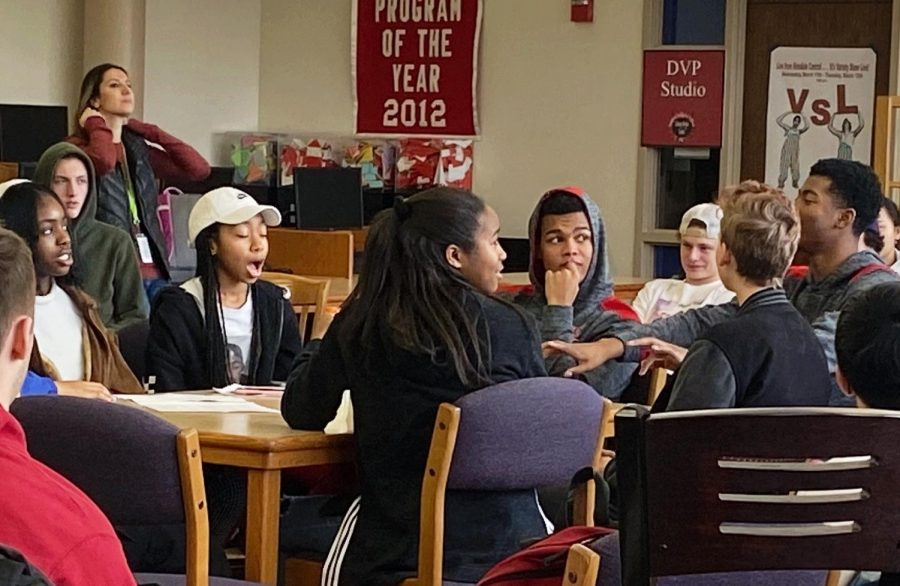 All students and faculty were welcome to observe and join in on the discussion during the Town Hall Meeting. Most students attended during their English classes.