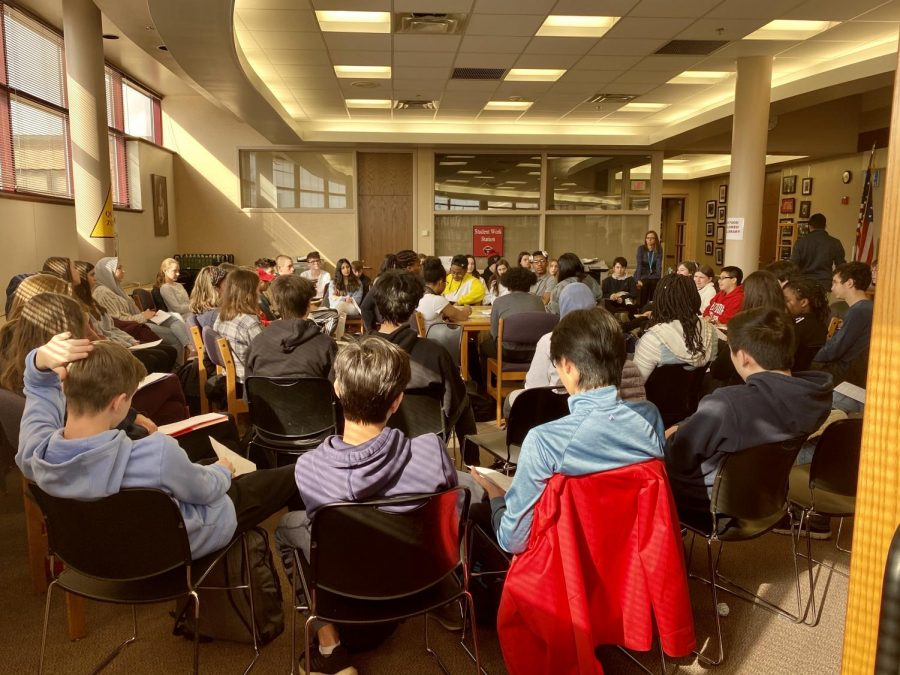 A+town+hall+meeting+was+held+in+the+library+throughout+the+day+on+Feb.+27.+Students+from+different+backgrounds+were+asked+to+speak+about+diversity+and+how+it+affects+their+daily+lives.+