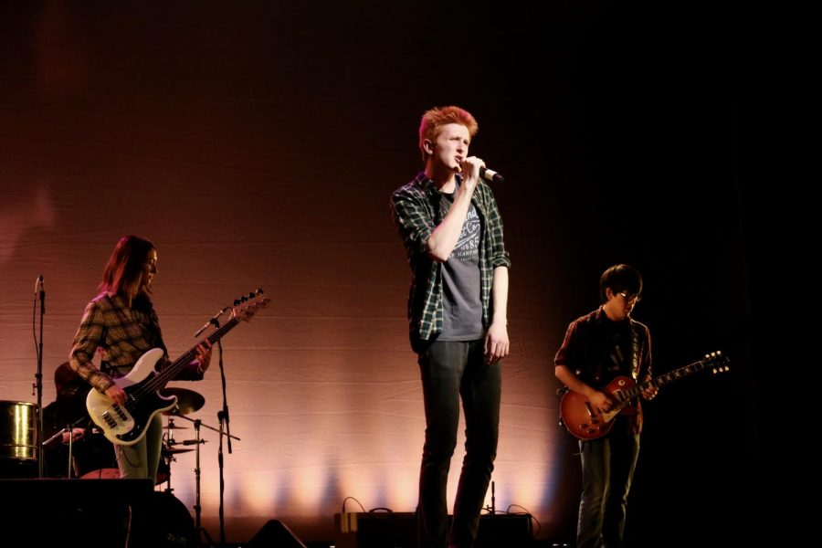 The band, The Jackson 7, played at the Variety Show. Senior Jackson Hughes, pictured, was the lead singer of this band.