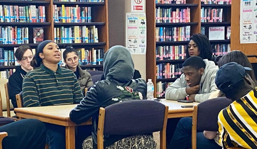 Dior Nicholson, senior, and Jaylen Laws, junior, were part of the group discussion during the  annual Diversity Town Hall held during Black History Month.