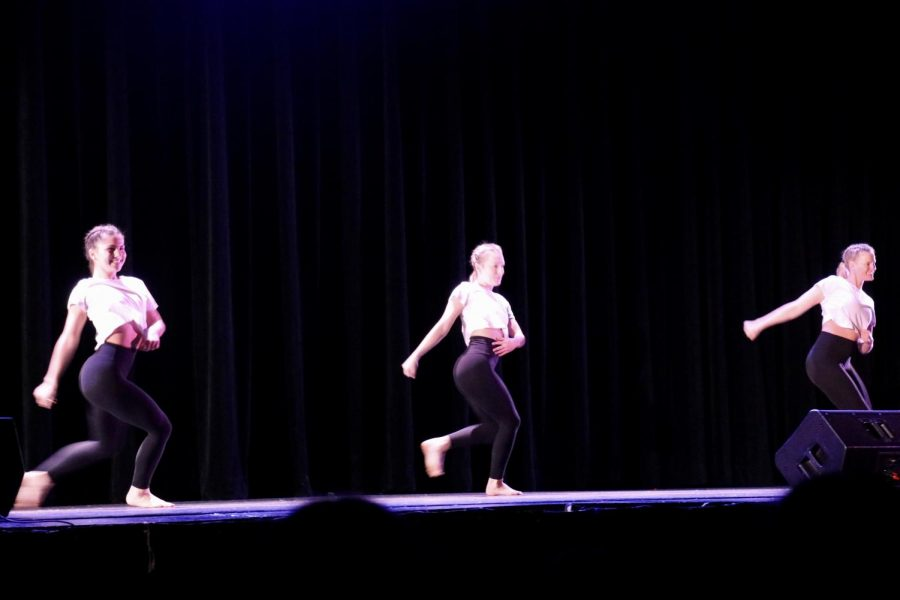 Seniors Brynn Kuhlman, Sophia Malamazzian, and Olivia Parrillo danced to the song Carried Away.