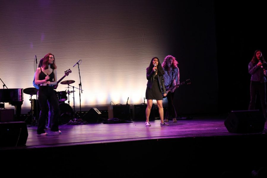The band, Quiller Keen, performed the song Killer Queen. This band included senior George Boddicker, senior Victor Buccellato, junior Jackie Buccellato, senior Mia Gaddis, freshman Ethan Hallberg, junior Cassie Maine, and junior Anya Shah.