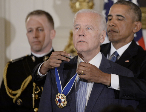 Former President Obama decorated Joe Biden with the Presidential Medal of Freedom in 2017.