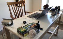 My workspace during online learning, similar to that of most students working from home during this time.