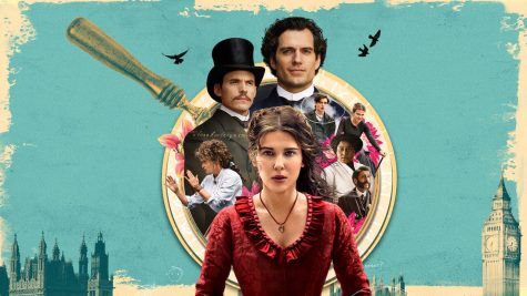The poster of the film features Millie Bobby Brown's Enola Holmes leading the supporting cast of Henry Cavill's Sherlock Holmes and Louis Partridge's Lord Tewkesbury in front of the setting of past England (courtesy of Netflix).