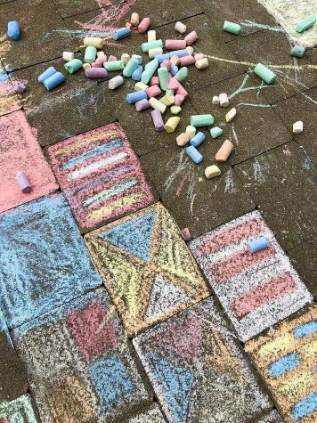 The National Art Honor Society recently held a chalk event outside to get members together safely.