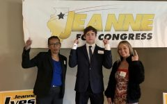 Assistant Regional Director Stephanie Trussell (left), junior Olivia Zelenka (right), and Ethan Austermann (center) supported the Jeanne Ives campaign by assisting donors at the computer.