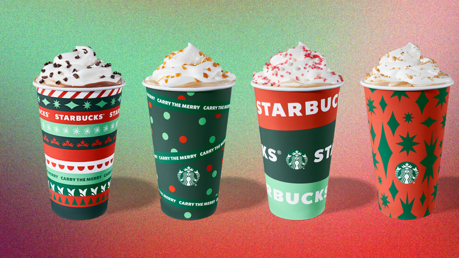 Starbucks holiday themed drinks are famous because of their  Christmas themed flavors.