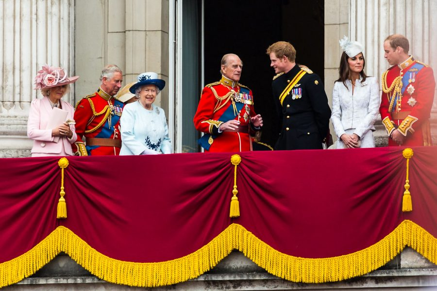 Other members of the royal family together at a ceremony.