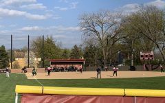 In the second inning of the varsity softball game, Hinsdale Central was down 3-4 to Glenbard West.