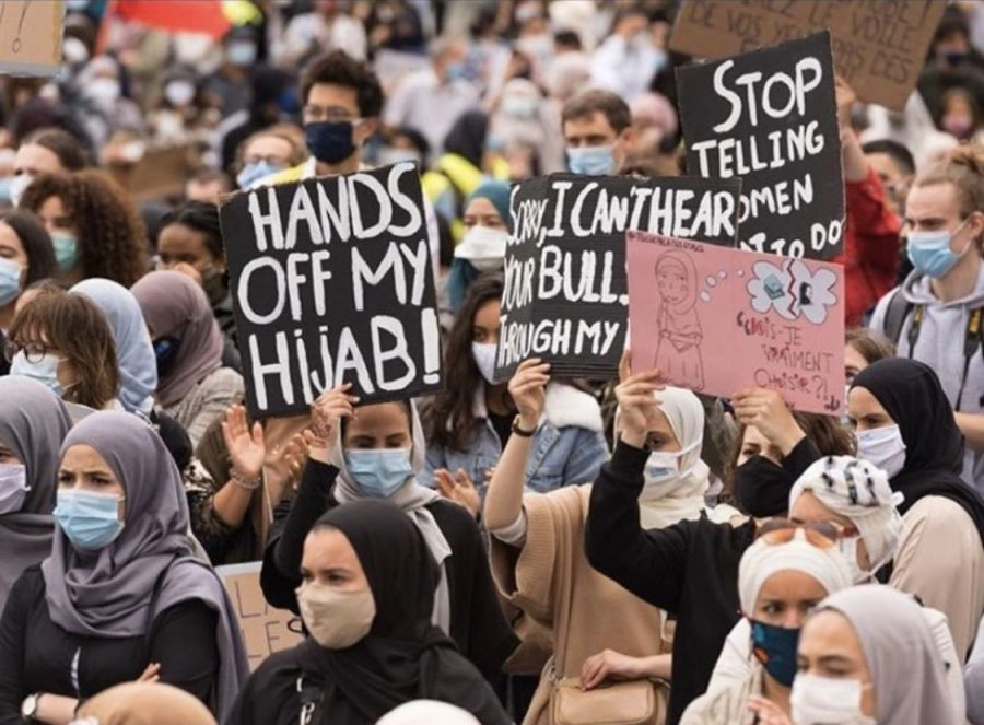 After France's inital hijab ban, many other European nations followed suit. Here Muslim women are protesting in Belgium following the decision to ban hijab in higer educational instituation and universities.