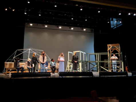 The cast of The Laramie Project practices on the stage to prepare for their performances on Oct. 21 and Oct. 23.